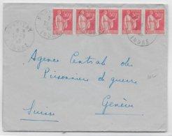 1940 - PAIX BANDE De 5 ! - ENVELOPPE De MARTIZAY (INDRE) => GENEVE (SUISSE) - 1921-1960: Modern Period