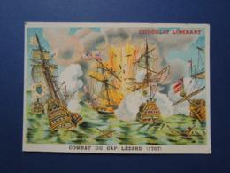 CHROMO  Lith. MINOT. Chocolat LOMBART.   COMBAT  Du  CAP  LEZARD  En  1707 - Vieux Papiers