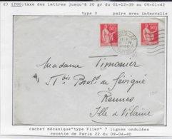 1933 - PAIX PAIRE Avec INTERVALLE Sur ENVELOPPE De PARIS => RENNES - 1921-1960: Modern Period