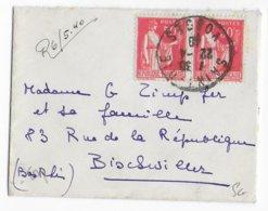 1940 - PAIX En PAIRE Sur ENVELOPPE PETIT FORMAT CARTE De VISITE De ST DIE (VOSGES) => BISCHWILLER - 1921-1960: Modern Period