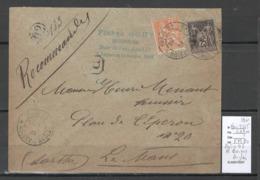 France- Lettre Recommandée Paris 92 Rue Boissy D'Anglas -1901 - 1877-1920: Semi Modern Period