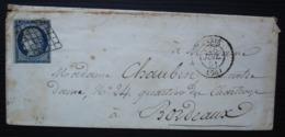 N° 4 Cérès 25 C Oblitération Grille Sur Enveloppe De Paris 1851 Pour Bordeaux - 1849-1876: Période Classique