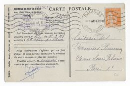 1941 - PAIX YT 366 SEUL Sur CARTE COMMERCIALE Des CHEMINS De FER De L'EST à PARIS - 1921-1960: Modern Period