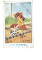 Illustration - Humour - Donald Mac Gill - Fillette élégante Bagages Valise Chemin De Fer Chien Genre Bouledogue - Mc Gill, Donald