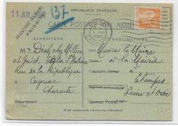 1940 - PAIX YT 366 SEUL Sur CARTE FM Des ARMEES UTILISATION CIVILE De COGNAC => ETAMPES - Marcophilie (Lettres)