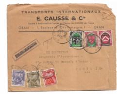 Lettre E CAUSSE  Oran   1949  Taxe 34F - Algérie (1924-1962)