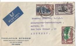 Lettre E CAUSSE  Oran   1949  Taxe 34FLettre COLOMBO  CEYLON 1948 - Ceylan (...-1947)