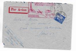 1938 - PAIX YT 365 SEUL Sur LETTRE Par AVION De VENCE => PARIS - INAUGURATION De La LIGNE POSTE AERIENNE PARIS - NICE - 1921-1960: Modern Period