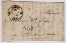 BAINS (les Bains) 15 Mars 1839 (Vosges), Type 12, Pour Châlons Sur Marne, Taxe Manuscrite 4 Décimes - Marcophilie (Lettres)