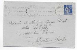 1938 - PAIX YT 365 Avec INTERVALLE SEUL Sur LETTRE De REIMS MECA LOTERIE => MONTE CARLO (MONACO) DESTINATION ! - 1921-1960: Modern Period