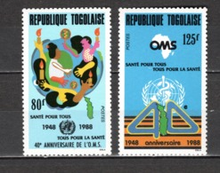 TOGO N° 1232 + 1233  NEUFS SANS CHARNIERE COTE  2.50€  OMS - Togo (1960-...)