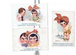 Lot 3 Illustration - Humour - Donald Mac Gill - Fillette Baigneuse Culotte Garçon Amis - Dispute - Mc Gill, Donald