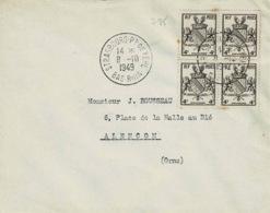 TP N ° 735 En Bloc De 4 Sur Enveloppe De  Strasbourg - 1921-1960: Modern Tijdperk