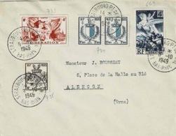 TP N ° 734 Et 735 +739 Et 649 Sur Enveloppe De  Strasbourg - Marcofilia (sobres)