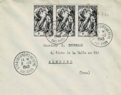 TP N ° 790 En Bande De 3 Sur Enveloppe De  Strasbourg - Marcophilie (Lettres)