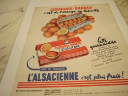ANCIENNE PUBLICITE GATEAU CHAMONIX-ORANGE DE L ALSACIENNE 1958 - Afiches
