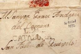 Año 1822 Prefilatelia Carta De La Escala A San Feliu De Guixols Marca L21 Cataluña CURIOSA Carta - Espagne