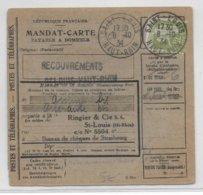 1934 - PAIX YT 284A SEUL Sur CARTE MANDAT De SAINT LOUIS (HAUT-RHIN) - 1921-1960: Modern Period