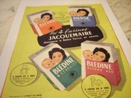 ANCIENNE PUBLICITE LES 4 FARINES JACQUEMAIRE 1958 - Afiches