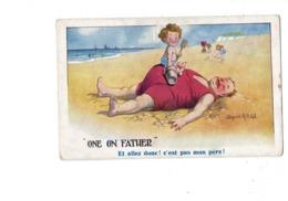 "Illustration - Humour - Donald Mac Gill - Plage Homme ""gros"" Garçon - ONE ON FATHER - Mc Gill, Donald"