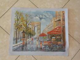 Paris, Arc De Triomphe  - Peinture à L'Huile Sur Toile 59cm X 49cm - Huiles