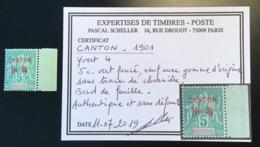 Canton 1901 Yv 4 **SUP NEUF SANS CHARNIÉRE RR ! 5c Vert Foncé Type Groupe (Chine China Indochine MNH Scheller Calves - Ungebraucht
