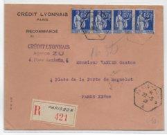 """1939 - PAIX YT 365 X 4 Sur LETTRE RECOMMANDEE De PARIS 20 RECETTE AUXILIAIRE """"A"""" CACHET HEXAGONAL - 1921-1960: Modern Period"""