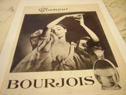 ANCIENNE PUBLICITE PARFUM GLAMOUR DE  BOURJOIS 1959 - Perfume & Beauty