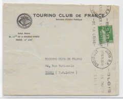 1939 - PAIX YT 367 SEUL Sur LETTRE Du TOURING CLUB De FRANCE De BLOIS => TOURS - 1921-1960: Modern Period