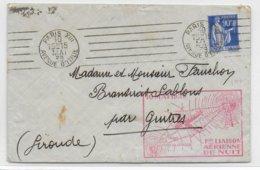 """1939 - PAIX YT 368 SEUL Sur LETTRE De PARIS """"1 ERE LIAISON AERIENNE DE NUIT"""" PARIS à PAU => GUITRES - 1921-1960: Modern Period"""