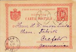 ROUMANIE - 1894 - Entier Postal Pour L'Allemagne - 1881-1918: Charles I