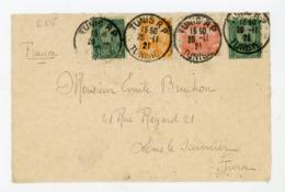 TUNISIE (RF) - N° Yt 2X31 + 32+70 Obli.  DE TUNIS 1921 POUR LONS LE SAUNIER - Tunisia (1888-1955)