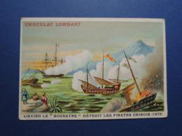 """CHROMO  Lith. MINOT. Chocolat LOMBART.   L' AVISO  LE  """" BOURAYNE """" Détruit Les Pirates  Chinois.  CHINE.  En  1872 - Vieux Papiers"""