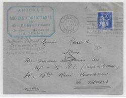 1939 - PAIX YT 368 SEUL Sur LETTRE De LE MANS TARIF 1F Depuis Le 1 DEC ! TAXE NON APPLIQUEE TOLERANCE Des 1° JOURS TARIF - 1921-1960: Modern Period