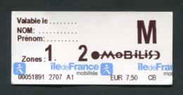 """Ticket Forfait Jour """"Mobilis 2 Zones"""" Train / Métro / Bus / Tramway - RATP / SNCF - Billet """"Ile-de-France-Mobilités"""" - Europe"""