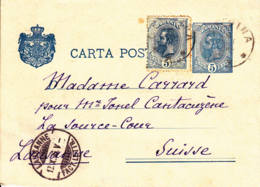 ROUMANIE - 1896 - Entier Postal Pour La Suisse - 1881-1918: Charles I