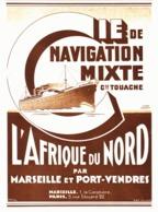 """PUB COMPAGNIE De NAVIGATION MIXTE ( Cie TOUACHE ) """" PORT-VENDRES- MARSEILLE """" 1933 ( 3 ) - Boats"""
