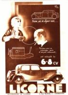 "PUB AUTOMOBILES  "" LICORNE "" 1933 ( 4 ) - Other"