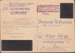 POSTKARTE Aus OLDENBURG Durch ROTE KREUZ Nach Wien, Geschwärzte Abdeckungen Der Symbole Und Marke, Datiert 21.10.1945 - Briefe U. Dokumente