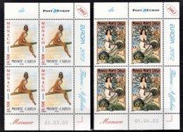 MONACO 2003 - SERIE - 2 BLOCS DE 4 TP / N°2393 ET 2394 - NEUFS** COINS DE FEUILLES / DATES - Monaco