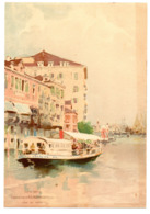 Chromo Chocolat Aiguebelle Venise Ville Italie Pays Grand Canal Vapeur Mode Transport Voyageur Lith Sirven Grand Format - Aiguebelle