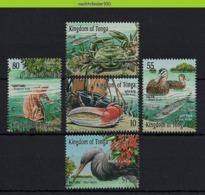 Nff047 FAUNA VOGELS VISSEN KRAB EEND REIGER HERON DUCK CRAB FISH BIRDS VÖGEL AVES OISEAUX TONGA 2001 PF/MNH - Meereswelt