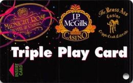 Midnight Rose/JP McGills/Brass Ass Casinos CO - BLANK Triple Play Slot Card - DLR CP & CPICA 25593 - Casino Cards