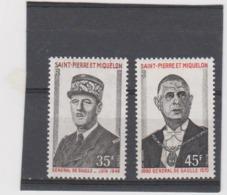 SAINT PIERRE ET MIQUELON Série Complète 2 T Neufs Xx N° YT 419 à 420  - 1971 - General De Gaulle - De Gaulle (Generaal)