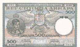 Kingdom Of Yugoslavia 500 Dinara 1935 !!!  GEM UNC ! - Yugoslavia