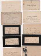 Lot De 10 Cartes De Visite Dont Certaines De Personnalités Politiques Ou Autres évoquant Ferdinand Dreyfus Entre Autres - Cartoncini Da Visita