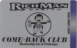 RichMan Casino Black Hawk, CO - Silver Come-Back Club Slot Card - No Barcode On Back - Casino Cards