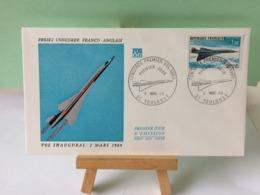 Concorde Franco Anglais (Vol 2 Mars 1969)(PA43) - 31 Toulouse - 2.3.1969 FDC 1er Jour Coté 9€ Poste Aérienne - 1960-1969