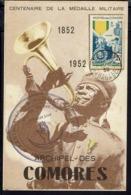 """Comores - 1952 - N° 12 Sur Carte """"Centenaire De La Médaille Militaire"""" Cachet Dzaoudzi Madagascar 4 Déc. 52 - B/TB - - Comoro Islands (1950-1975)"""