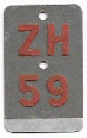 Velonummer Zürich ZH 59 - Number Plates